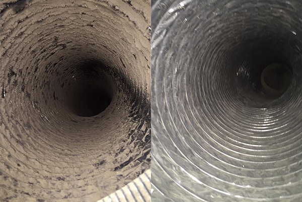HVAC Before After Flexible Duct
